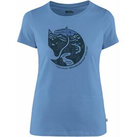 Fjällräven Arctic Fox Print Camiseta Mujer, azul
